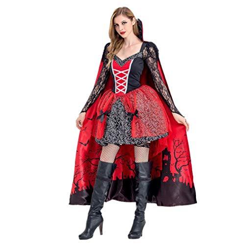 Lomelomme_Halloween Cosplay Kleid Damen Kurz Kleider Party Halloween Kurzarm Kleid Lang Halloween Party Kostüm Kleid Frauen Braut Rotkäppchen Umhang rot Hexe Nachtclub Queen(b-Red, - Prinzessin Braut Kleid Kostüm Red