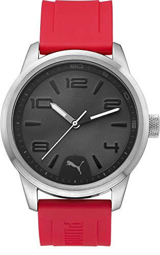 PUMA Rush Men's Quartz Watch with Grey Dial Analogue Display and Red Polyurethane Strap PU104041004