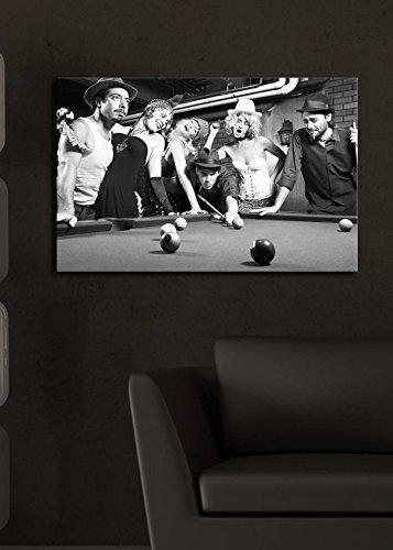 LaModaHome decorativo da parete tela (44,5x 69,8cm) in legno spessore telaio pittura/LED luce interno stecca da biliardo Pool Table Ball sigaretta Girls multi varianti in magazzino.