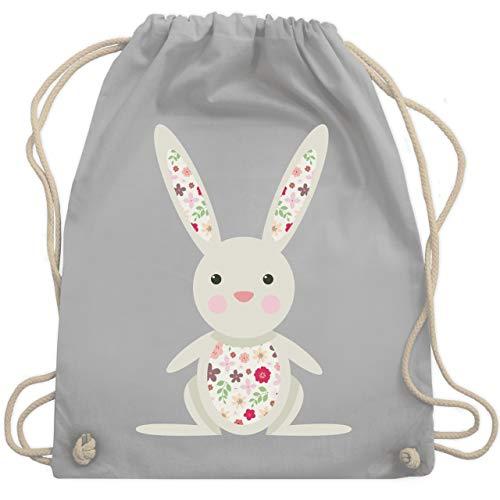 Tiermotive Kind - Süßer Hase - Frühlingstiere mit Blumen - Unisize - Hellgrau - WM110 - Turnbeutel & Gym Bag -