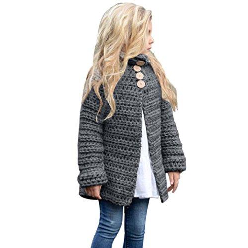 kleinkind kinder mädchen lange ärmel outfit kleidung aus wolle button pullover strickjacke winter kleine prinzessin mantel tops 2t-8t Hirolan (130cm, Grau) (Grau Wolle-button)