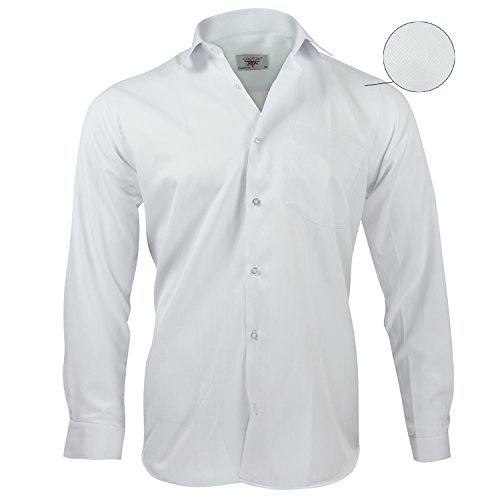 Captain Classic Fit Herren Hemden (in 24 Verschiedenen Farben) Langarm-Hemd 100% Baumwolle Weiß (geriffelt)