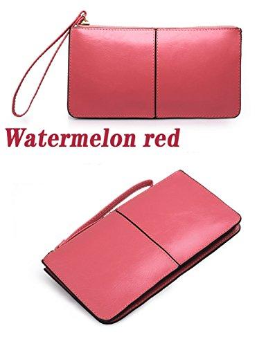 H&W Liscia Pelle Portafoglio Cinturino Polso Clutch Borsa Rosa Anguria Rosso