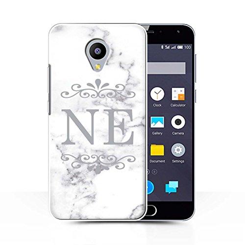 Stuff4® Personalisiert Weiß Marmor Mode Hülle für Meizu M2 Note/Gerahmt Silberner Marke Design/Initiale/Name/Text Schutzhülle/Case/Etui