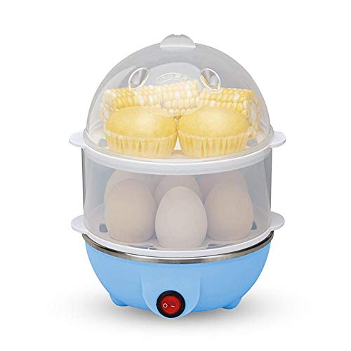 LayOPO Egg Cooker Double Layer Rapid Boiled Egg Cooker with Auto Shut Off Function- 14 Egg Capacity Electric Egg Poacher for Hard Boiled Eggs, Poached Eggs, Steamed Corn, Hot Milk