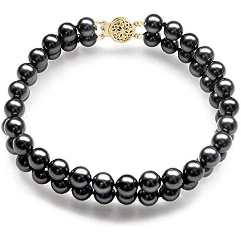 Oro giallo 14 k, colore: nero, doppio filo di perle giapponesi Akoya Bracciale (7 17,78 cm