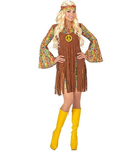 Sixties Kleid Kostüm - Hippie Damen Kostüm Kleid Stirnband und Kette 60er 70er Jahre Flower Power Piece Seventies Sixties, Größe:M