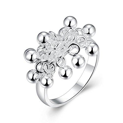 NYKKOLA New Beautiful Jewelry placcato in argento Sterling 925multi perline anello, argento, 56 (17.8), cod. TEYJT6YHRH45