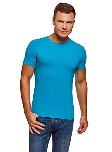 oodji Ultra Herren Tailliertes T-Shirt Basic, Blau, M