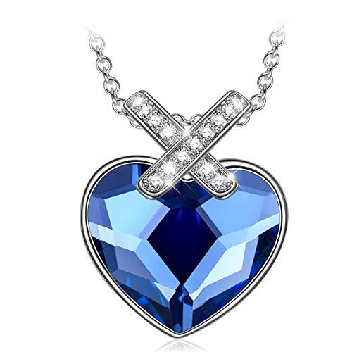 PAULINE & MORGEN Geschenk für Frauen Weihnachten halskette damen frauen kette damen halskette herz damen Swarovski Kristall schmuck damen geburtstagsgeschenk für frauen freundin mama mädchen schwester
