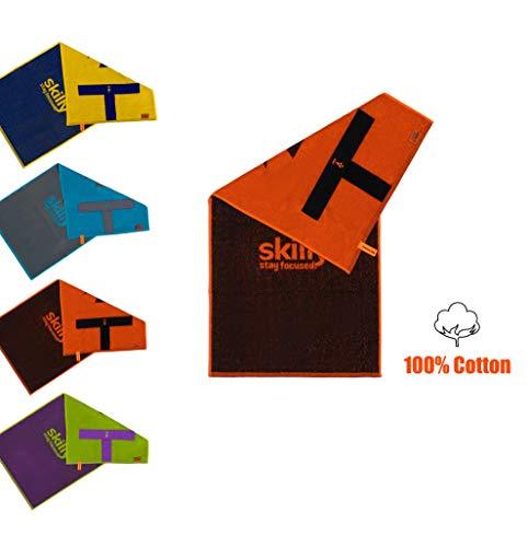 skilly RetroFIT Fitnesshandtuch | Antirutschfunktion | 100X50cm | Gym Handtuch zweifarbig | Sporthandtuch aus 100% Baumwolle