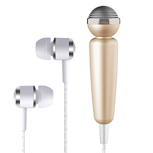 Tarkan HQ Glowing karaoke Noise Cancelling Microphone with In-Ear Stereo Bass Headphone, 3.5mm Jack [GOLD]  available at amazon for Rs.499