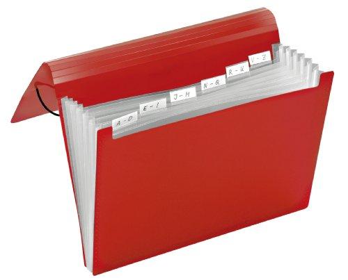 Preisvergleich Produktbild Faechermappe A4 6 Faecher Crystal Rot