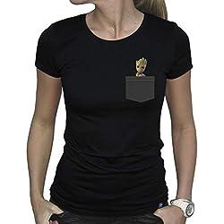 ABYstyle - Marvel - Pocket Groot Camiseta Mujer Negro (S)