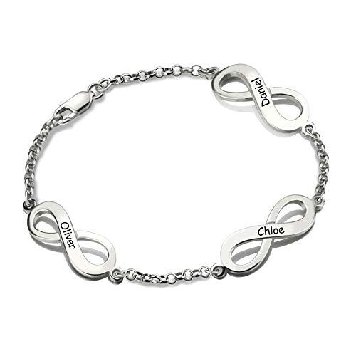 Silber maßgeschneiderte Infinity Fußkettchen/Knöchel Armbänder - personalisierte Strand Schmuck DREI gravierte Scheiben ()