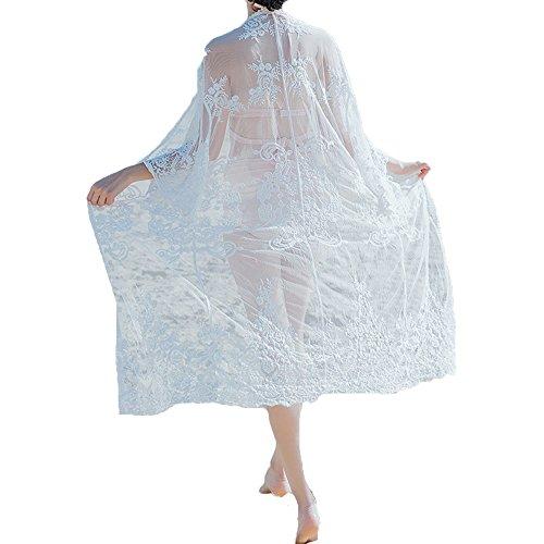 unika Bikini Cover up Strandponcho Strandkleid Sommerkleid Sommer Bademode Spitze One Size (36-46), 991 (Sehen Sie Durch Schwimmen Kostüme)