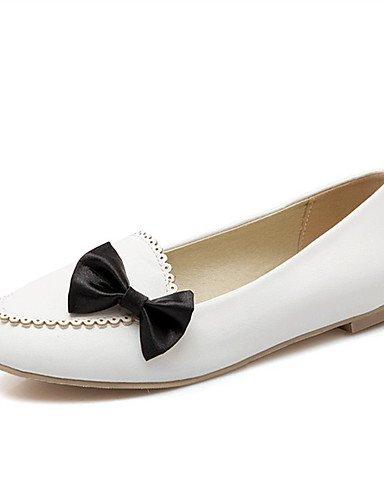 XAH@ Chaussures Femme-Extérieure / Habillé / Décontracté-Noir / Rose / Blanc-Talon Plat-Confort-Plates-Similicuir black-us8.5 / eu39 / uk6.5 / cn40