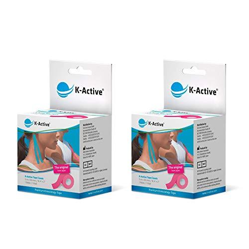 K-Active Kinesiologie Tape Classic PINK, wasserabweisend und hypoallergen, 50 mm x 5 m, 2 Rollen