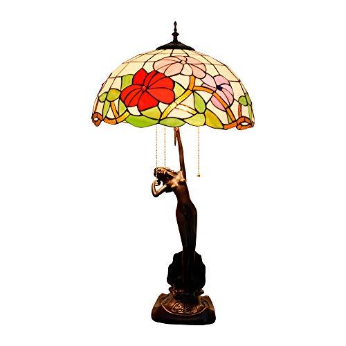 ZAAQ Tiffany-Stil Tischlampe 40CM rot Festliche Glasmalerei geeignet für Wohnzimmer Esszimmer Schlafzimmer American Garden Geschenk Tischlampe