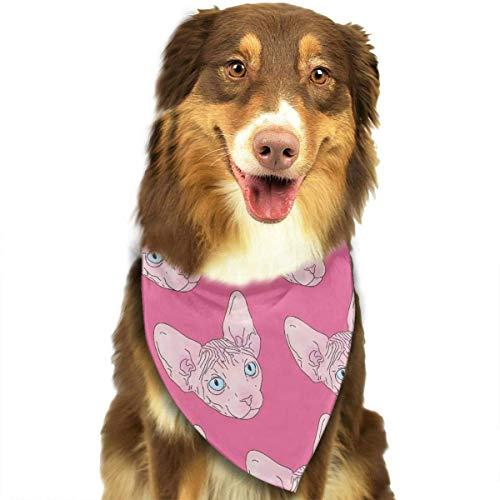 Hectwya Pet Scarf, Pink Sphynx Cat Pattern Fashion Pet Bandanas Dog Car Neck Scarf for Unisex Pet Boy Girls