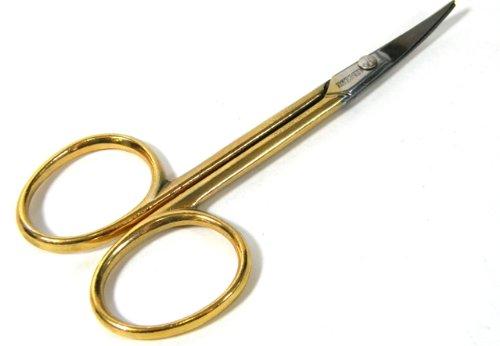Vergoldete Nagelschere mit gebogener schmaler Spitze, BS Doppelkopf Made in Germany 3 1/2 Zoll