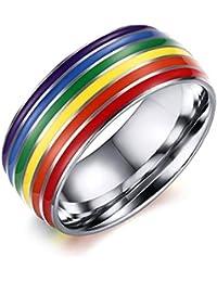 JJZHY Anillo de Arco Iris de Titanio LGBT Accesorios de Anillo de Arco Iris Personalizados,Plata,U.S12