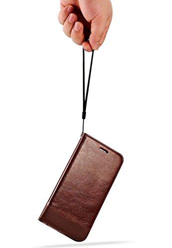 Custodia iPhone SE Cover iPhone 5s / 5 - Dfly Custodia In Pelle Con Invisibile Forte Inarcamento Magnetico Doppio Side Magnete Design Flip Cover Per iPhone SE 5 5s, Rosso Bianca