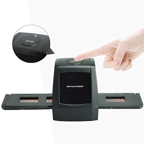 DIGITNOW! Dia Film Scanner für Dias und Negative mit 1.800/3.600 DPI Scan-Qualität, USB 2.0 Anschluss - Schwarz