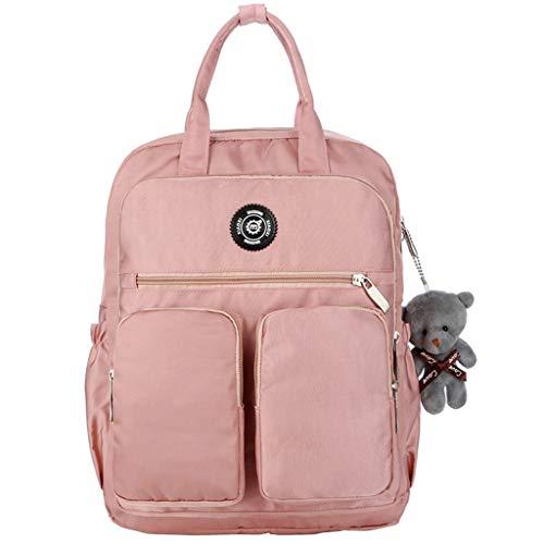 ck Schule Große Kapazität Rucksack Multi-Pocket wasserdichter Rucksack mit Bär , Handgepäck Laptop Herren Damen Reiserucksack Outdoor Sportrucksack Mit vielen Fächern (Pink) ()
