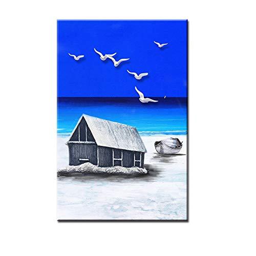 zxddzl Quadro su Tela Dipinto a Mano Paesaggio di Gabbiano 2 50 * 70