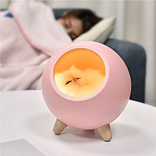 MAGICE LED nachtlichter für Babys Süße Kätzchen Schlummerleuchten für Kinder, Baby Kinderzimmer Lampe zum Stillen, Augenpflege, Einstellbare Helligkeit, Touch Control für Babyzimmer,Pink (Kätzchen Wecker)