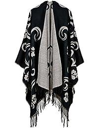 YianBestja Damen Herbst/Winter Poncho mit Quaste, 130 * 150CM Poncho-Schal Überwurf Cape Umhang Wendeponcho für Frau