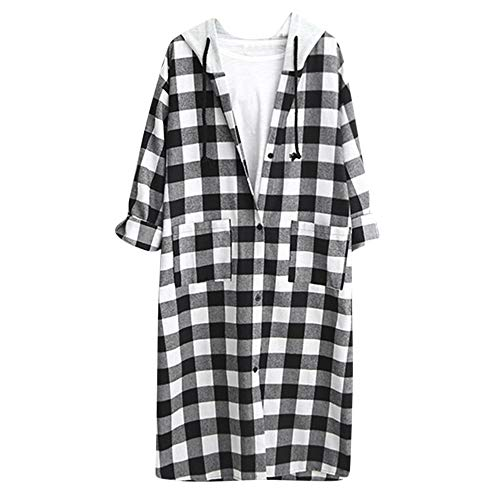 TWBB Damen WinterMantel,Plaid Outwear Unregelmäßig Lose Outwear Mit Knopf Langarm-Shirt