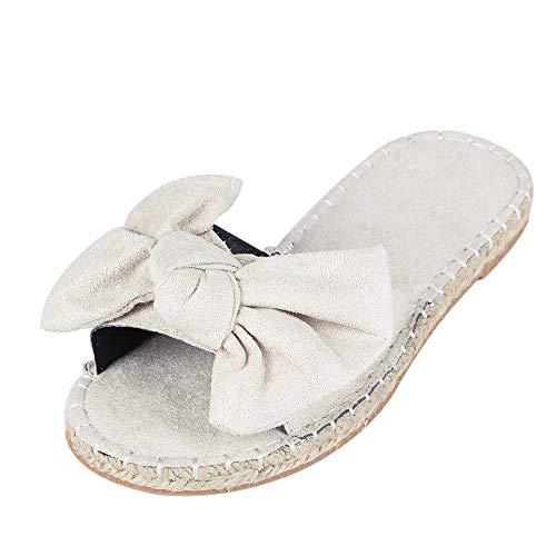 Vertvie Damen Pantoletten mit Schleife Komfort Sommer Sandalen in hochwertiger Tuch Weich Freizeit Strandsandalen Outdoor Flip Flops(40 EU, cremefarben)