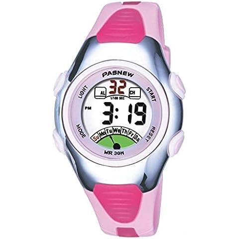 FOME PASNEW alta calidad impermeable hora dual unisex Adolescentes reloj deportivo + FOME regalo rosa claro