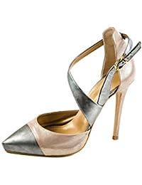 Fersengold - Zapatos de cordones de Piel Lisa para mujer Gris gris 39