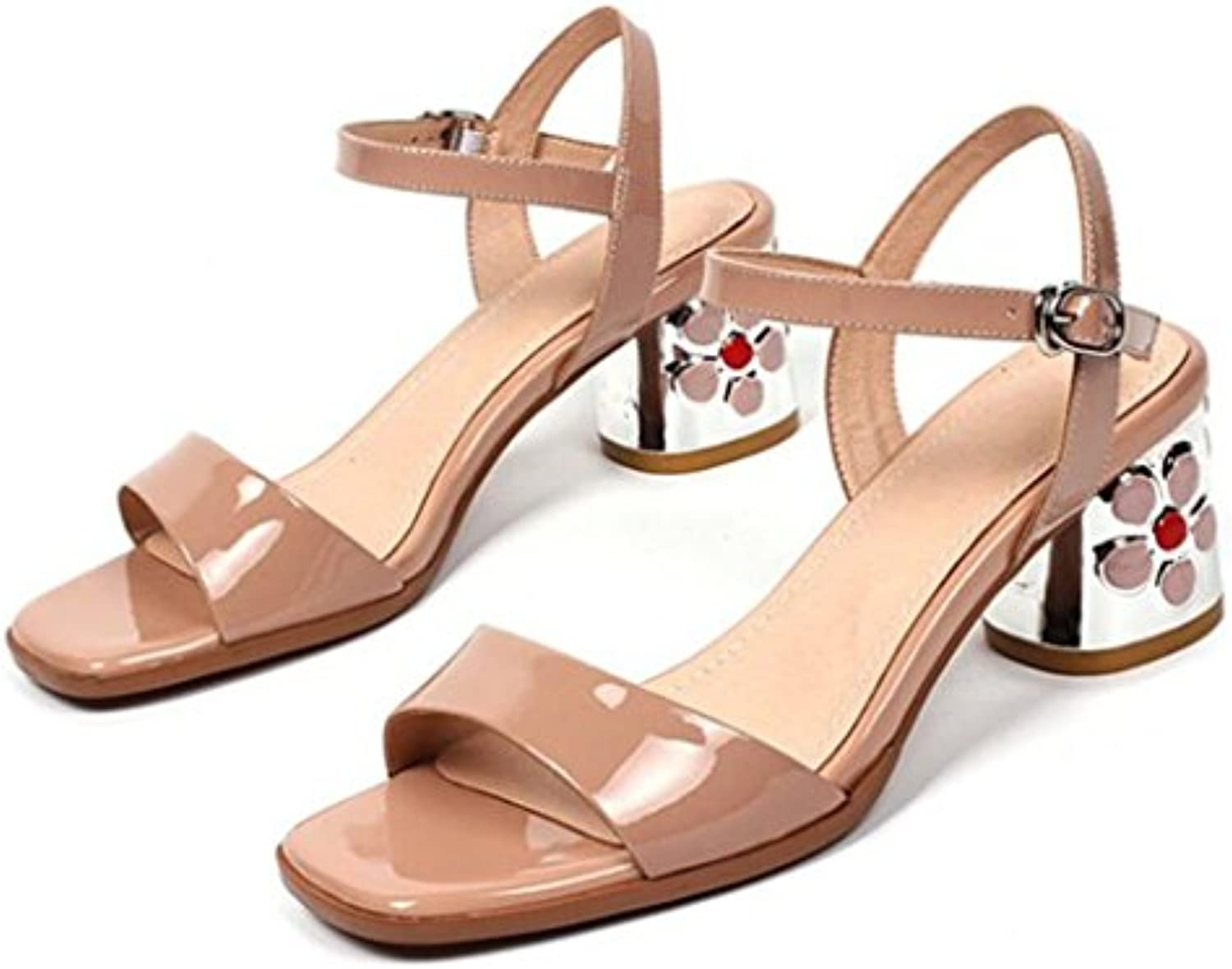 GAOLIXIA Frauen Leder T-strap Open Toe Sandalen Pumps Sommer Blumen Riemchen High Heels Fashion Party Bankettö