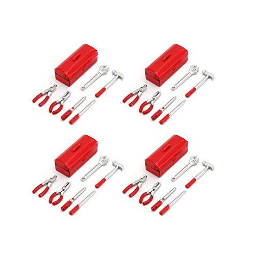 EdBerk74 6 Stücke Mini RC Dekoration Tool Set Box Fall Kit Zubehör Teil für 1/10 RC Auto Crawler Axial SCX10 RC4WD D90 D110 TF2 (Fall Tool-kit-set)