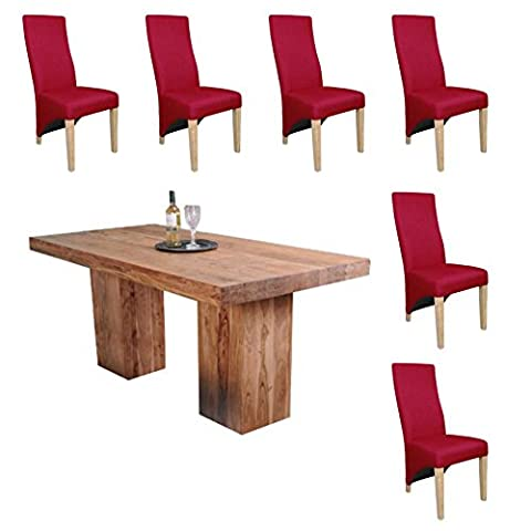 Dining Set Bundle - 1.8m Alwar Table 100% acacia handcrafted hardwood with beautifully distressed look. Matched with 6 Baxter Linen Feel Cinnamon dining chairs.