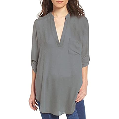 Keepwin Women Baggy Shirt Deep V Neck Long Sleeve Pocket Casual Blouse Tops Plus Size (L, Gray)