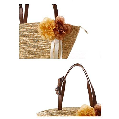 JOMNM Mode Frauen Böhmen Stil Straw umhängetasche Beach Tote.(2 Blume Dekoration) Beige