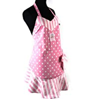 Pink Cakeshop Apron  A flirty little apron for saucy kitchens! A pink apron as delectable as a cakeshop! Chic kitchen attire that clings to your curves! This apron is made sweet with polkadots and pink candy stripes! In sugary pink and cream...