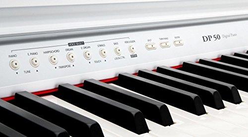 Classic Cantabile DP-50 WM E-Piano SET (Digitalpiano mit Hammermechanik, 88 Tasten, 2 Anschlüsse für Kopfhörer, USB, LED, 3 Pedale, Piano für Anfänger, Pianobank, Kopfhörer, Klavierschule) weiß matt - 4