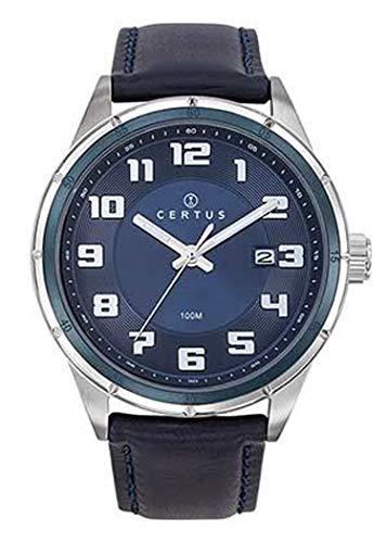 Certus–Reloj Hombre–h611m129–Pulsera Cuero Azul–Esfera Azul–Date