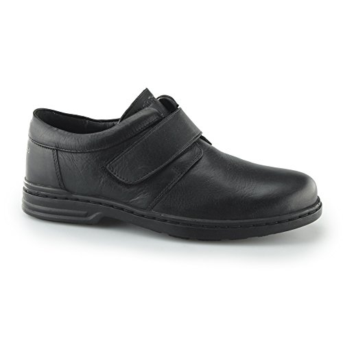 Hush Puppies JEREMY HANSTON Mens Leather Touch Fasten Shoes Black UK 8