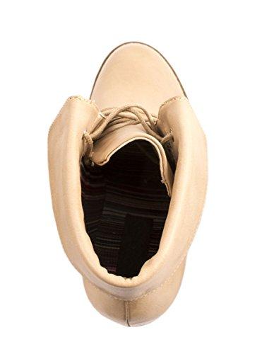 Elara Damen Stiefelette | Ankle Boots | Blockabsatz Schnürer cachi