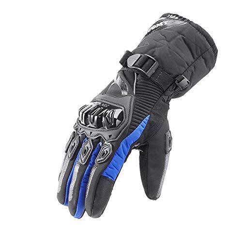 WXHXSRJ Guanti Invernali per Motociclismo - Guanto Touchscreen con Isolamento Termico Impermeabile Antivento per Esterno, per Arrampicata Escursionismo All'aperto,Blu,XXL