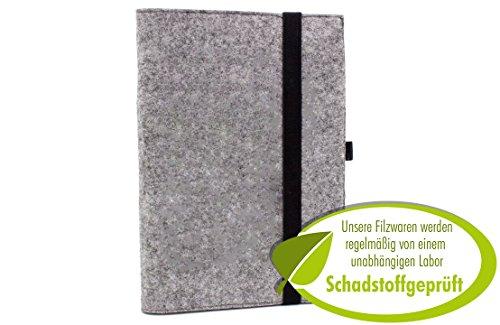 Edles Filz Notizbuch in graumeliert, A5 kariert 50 Seiten Notizblock, edler Einband oder Umschlag...