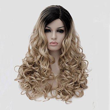 Js-wigs Perruque synthétique ondulée pour femme Capless longs cheveux synthétiques
