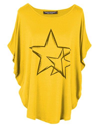 Emma & Giovanni Kimono T-Shirt/Oberteile Kurzarm Elegant - Damen (Ocker, XL/XXL)
